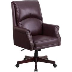 High Back Pillow Back Burgundy Leather Executive Swivel Chair with Arms