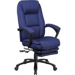 High Back Navy Fabric Executive Reclining Swivel Office Chair with Comfort Coil Seat Springs and Padded Arms
