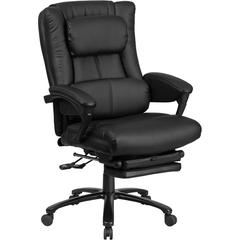 High Back Black Leather Executive Reclining Swivel Office Chair with Lumbar Support, Comfort Coil Seat Springs and Padded Armrests