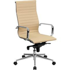 High Back Tan Ribbed Upholstered Leather Executive Office Chair