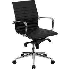 Flash Furniture Mid-Back Black Ribbed Upholstered Leather Swivel Conference Chair
