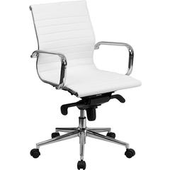 Mid-Back White Ribbed Upholstered Leather Swivel Conference Chair
