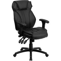 Flash Furniture High Back Black Leather Executive Swivel Office Chair with Triple Paddle Control and Lumbar Support Knob