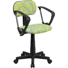 Blue & White Swirl Printed Green Computer Chair with Arms