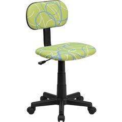Blue & White Swirl Printed Green Computer Chair