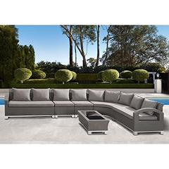 Modern Outdoor Bora Bora 6-Piece Gray Wicker Sectional Set with Taupe Cushions