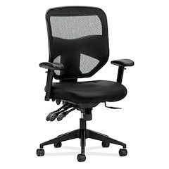 Prominent Mesh High-Back Task Chair | Asynchronous Control, Seat Glide | 2-Way Arms | Black Leather