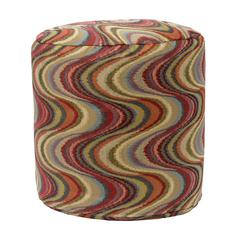 American Furniture Classics Frequency Tomato Tapestry Pouf Ottoman