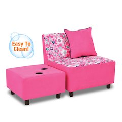 Tween Chair w/one pillow and Ottoman w/2 cupholders - Wildflower with Passion Pink; navy Welt Trim Accent