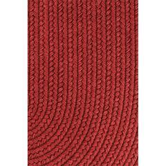 """Rhody Rug Solid Scarlet Wool 18"""" x 36"""" Slice"""