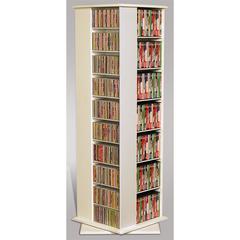 Revolving Media Tower Molded, 22-3/4 x 22-3/4 x 63, White