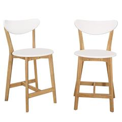 Retro Modern Barstools, Set of 2 - White/Natural