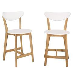 Retro Modern Barstools, Set of 2 - White/Natural