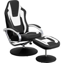 Racing Style Black and White Vinyl Recliner and Ottoman