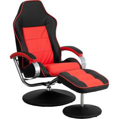 Flash Furniture Racing Style Black and Red Vinyl Recliner and Ottoman