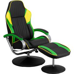 Racing Style Black, Green and Yellow Vinyl Recliner and Ottoman
