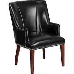 HERCULES Sculpted Comfort Series Black Leather Side Reception Chair