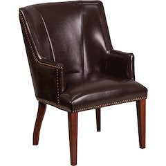 HERCULES Sculpted Comfort Series Brown Leather Side Reception Chair
