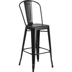 30'' High Matte Black Metal Indoor-Outdoor Barstool with Back