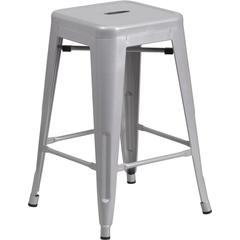 24'' High Backless Silver Metal Indoor-Outdoor Counter Height Stool with Square Seat