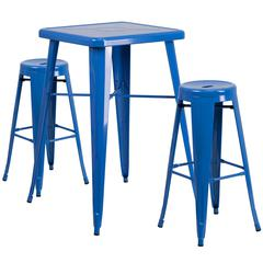 23.75'' Square Blue Metal Indoor-Outdoor Bar Table Set with 2 Round Seat Backless Barstools