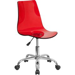 Contemporary Transparent Red Acrylic Swivel Task Chair with Chrome Base