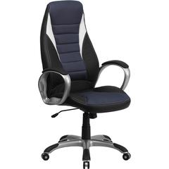 Flash Furniture High Back Black Vinyl Executive Swivel Office Chair with Blue Mesh Inserts