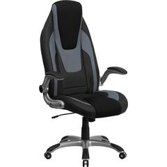 High Back Black & Gray Vinyl Executive Swivel Office Chair with Black Mesh Insets and Flip-Up Arms