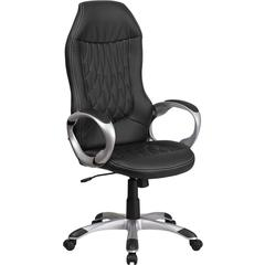 High Back Black Vinyl Executive Swivel Chair with Arms