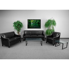 HERCULES Compass Series Transitional Black Leather Set with Walnut Legs