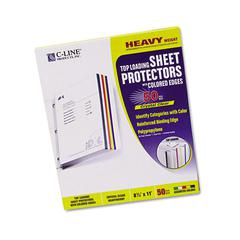 C-Line Colored Edge Sheet Protectors, Assorted Colors, 11 x 8 1/2, 50/BX
