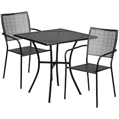 28'' Square Black Indoor-Outdoor Steel Patio Table Set with 2 Square Back Chairs