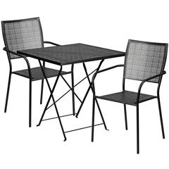28'' Square Black Indoor-Outdoor Steel Folding Patio Table Set with 2 Square Back Chairs