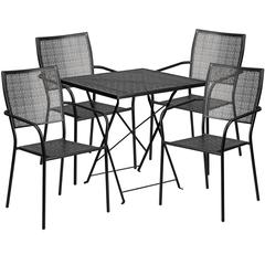 28'' Square Black Indoor-Outdoor Steel Folding Patio Table Set with 4 Square Back Chairs
