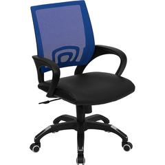 Flash Furniture Mid-Back Blue Mesh Swivel Task Chair with Black Leather Padded Seat