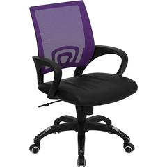 Flash Furniture Mid-Back Purple Mesh Swivel Task Chair with Black Leather Padded Seat