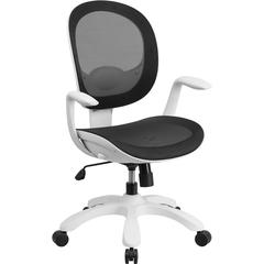 Mid-Back Black Mesh Swivel Task Chair with Seat Slider and Ratchet Back