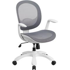 Mid-Back Gray Mesh Swivel Task Chair with Seat Slider and Ratchet Back