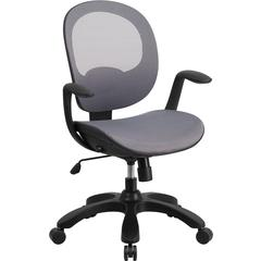 Flash Furniture Mid-Back Gray Mesh Swivel Task Chair with Seat Slider and Ratchet Back