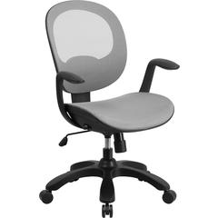 Mid-Back White Mesh Swivel Task Chair with Seat Slider and Ratchet Back