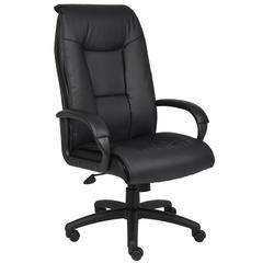 Boss Executive Leather Plus Chair W/Padded Arm & Knee Tilt