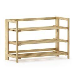Furinno Alder Pine Solid Wood Foldable 3-Tier Shoe Rack, Natural