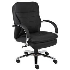Boss Mid Back CaressoftPlus Exec. Chair W/ Chrome Base & Knee Tilt