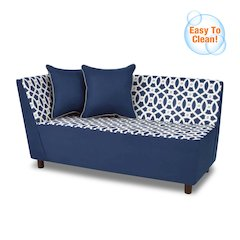 Tween Chaise w/two pillows - Loopy Navy with Navy;  Pebbles Welt Trim Accent