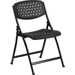 HERCULES Series Black Designer Comfort Molded Folding Chair