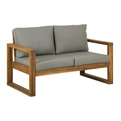 Hudson Collection Love Seat with Cushions - Grey/Brown
