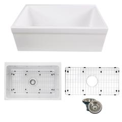 Yarmouth-30BG Decorative Apron Farmhouse Fireclay Sink with Grid and Drain