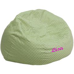 Personalized Oversized Green Dot Bean Bag Chair