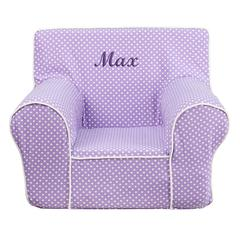 Personalized Small Lavender Dot Kids Chair with White Piping