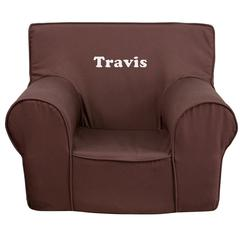 Personalized Small Solid Brown Kids Chair